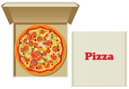mozzarelle e formaggi:  illustrazione di una pizza nella casella e una scatola di cartone pizza Vettoriali