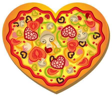 illustration of a heart-shaped pizza with heart-shaped toppings