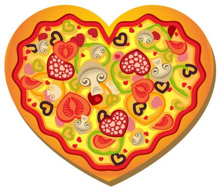 mozzarelle e formaggi:  illustrazione di una pizza a forma di cuore con condimenti a forma di cuore
