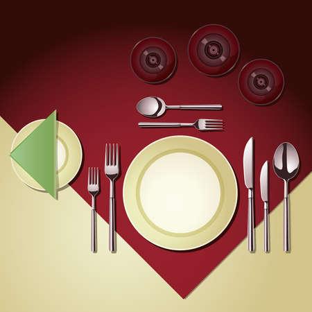 insieme di elementi di posate e bicchieri di cui a un tavolo da pranzo Vettoriali