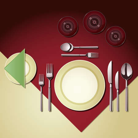set of items of cutlery and glassware laid at a dining table Stock Vector - 8198082