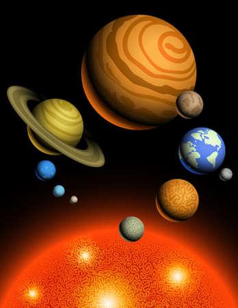 neptun:  Abbildung der Sonne und neun Planeten des Sonnensystems Illustration