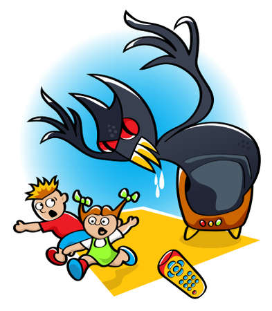 illustration of two kids running away in fear from a monster coming to real life from a scary movie on TV Illustration