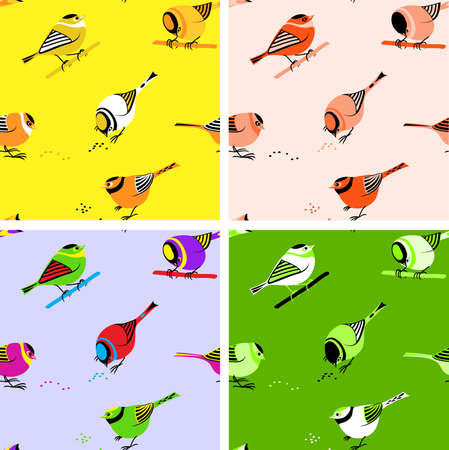 Birds perching on branches or picking seeds. Seamless pattern tiles Illustration