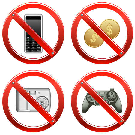 Set of signs banning video games, cash payments, and use of cameras and cell phones