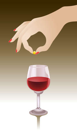 illustration of a female hand dropping a shiny yellow (possibly harmful) pill into the glass of red wine