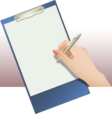illustration of clip pad and female hand holding a ballpoint pen