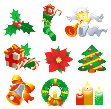 Collection of Christmas-related objects and symbols Vector