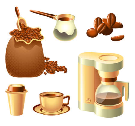 coffee pot: Collection of coffee-related objects