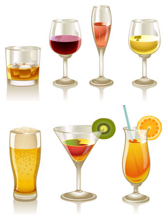 Collection of cocktails and drinks Illustration