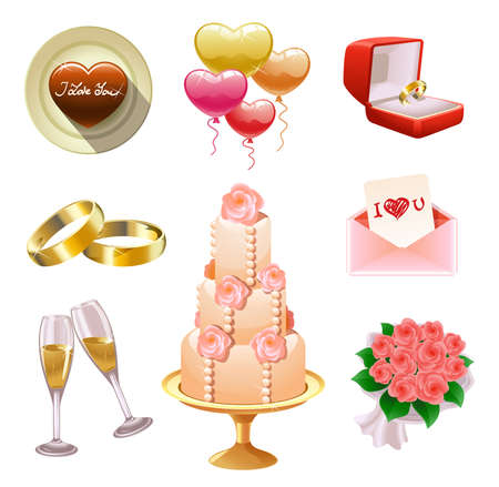 engagement party: Collection of wedding- and Valentines-related objects