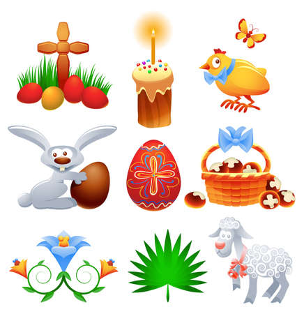 paschal lamb: Collection of traditional Easter symbols and icons