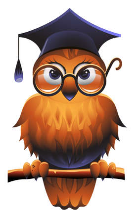 Búho sabio llevando una gorra Plaza académica y gafas