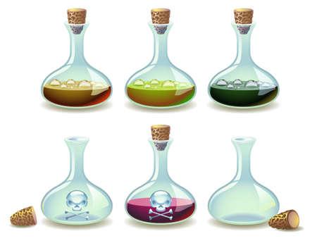 sustancias toxicas: Conjunto de pociones coloridos y frascos vac�os