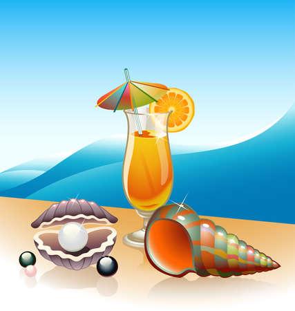 almeja: Conchas marinas y vaso de jugo de naranja con paisaje marino como tel�n de fondo