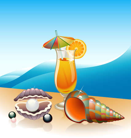 Seashells and glass of orange juice with seascape as a backdrop