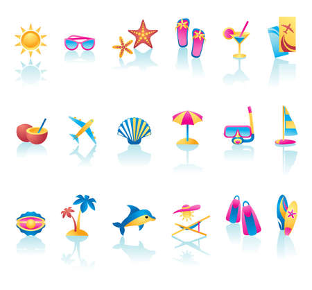 scallop shell: Collection of summer time icons