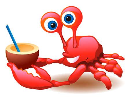 cangrejo caricatura: Cangrejo y cóctel de coco