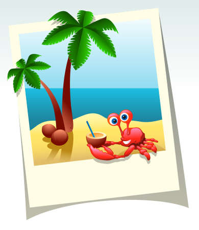 Cartoon summer shot of sea beach, palm trees, and crab with coconut cocktail Stock Vector - 9595412