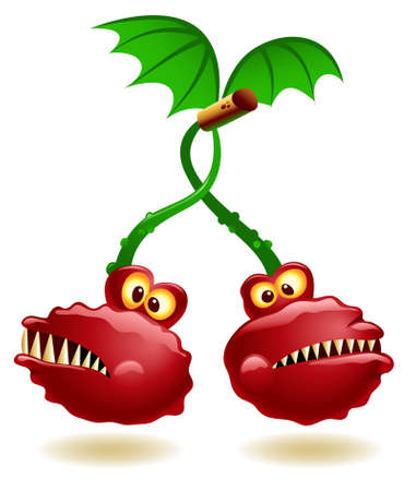 Illustration of genetically modified cherry twins Illustration