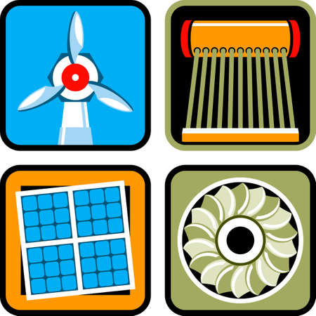 heater: Icon set of alternative energy sources: wind power, solar energy and heating, and hydroelectricity Illustration