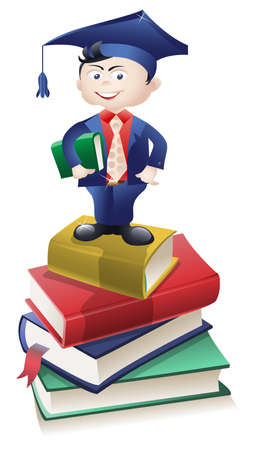 Educated boy dressed in a suit, standing atop a pile of books