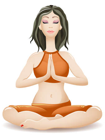 persona respirando: Yoga mujer joven sentada en una postura con las piernas cruzadas y la meditación Vectores
