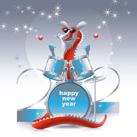 Dragon, symbole de 2012, jouant des tambours magiques Banque d'images - 11133160