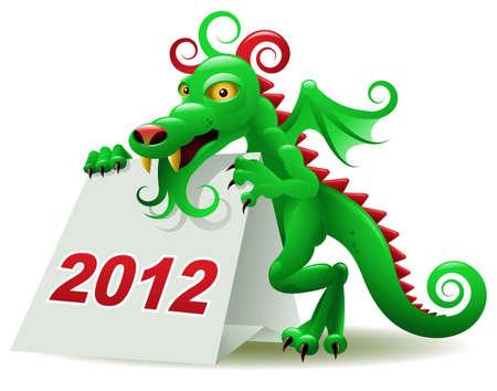 calendario da tavolo: Drago, simbolo del 2012, in possesso di un calendario da tavolo Vettoriali
