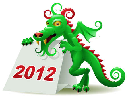 Dragon, the symbol of 2012, holding a desk calendar