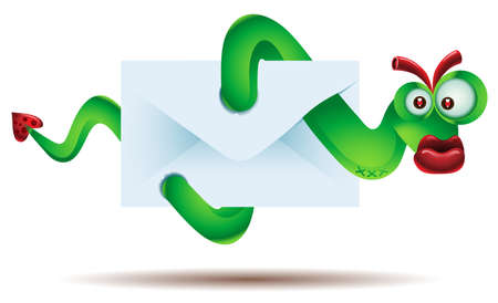 Worm virus attacking computer through email attachment Stock Vector - 12490642
