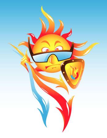 radiacion solar: Concepto de la actividad solar - ataque magn�tica o la radiaci�n del sol Vectores