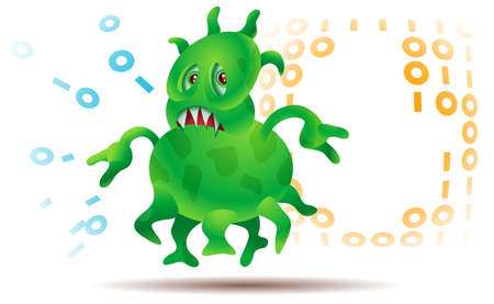 This may be either a virus damaging information stored on a computer, or microbial attack Stock Vector - 13715982