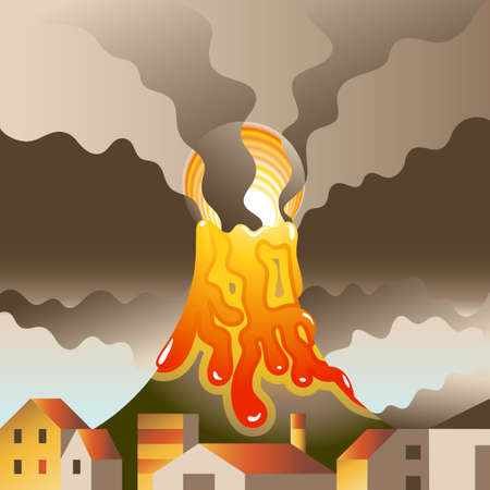 town square: Volcanic eruption threatens to destroy the nearby populated area Illustration