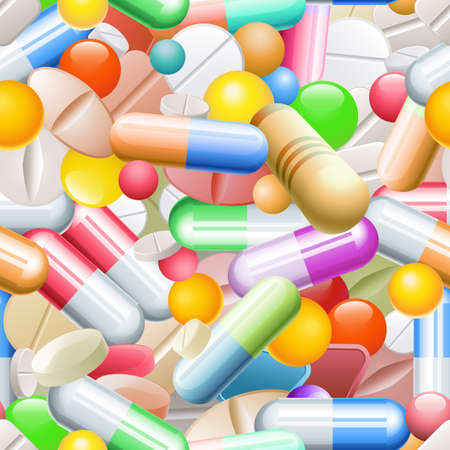 Heap of tablets and capsules. Seamless pattern tile Vector