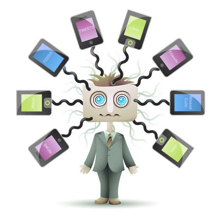cell phone addiction: Social networking guy with square head and dizzy eyes, plugged into cyberspace Illustration