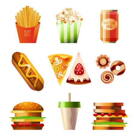 take away: Fast Food Set Illustration
