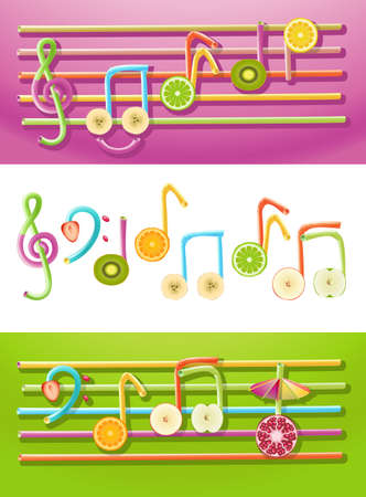 Collection of musical symbols made up of fruit slices and drinking straws Stock Vector - 14239429
