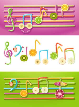 semiquaver: Raccolta dei simboli musicali costituita da fette di frutta e cannucce Vettoriali