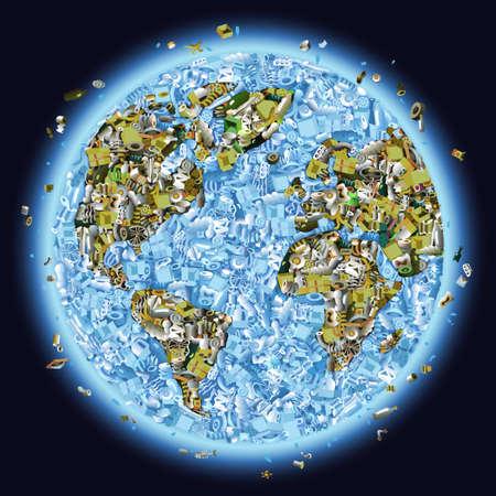 Planeta tierra, amontonados con la basura como un concepto de la contaminación global Ilustración de vector