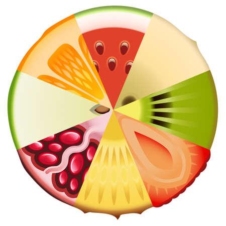 alimentacion balanceada: Diagrama de frutas Dieta Vectores