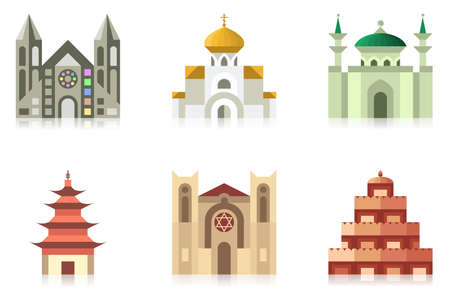 religions: Icon collection of temples of world religions Illustration