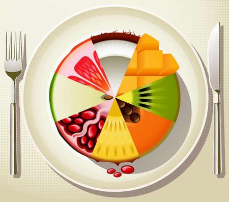 pastel de manzana: Dieta Saludable Vectores