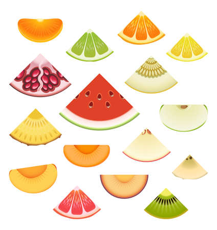 Collection of fresh fruit wedges Vector