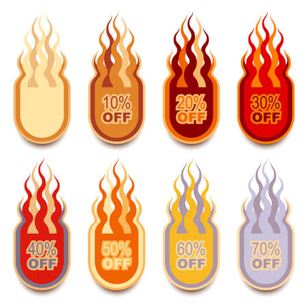 discounted: Collection of discount flame-shaped hot lables