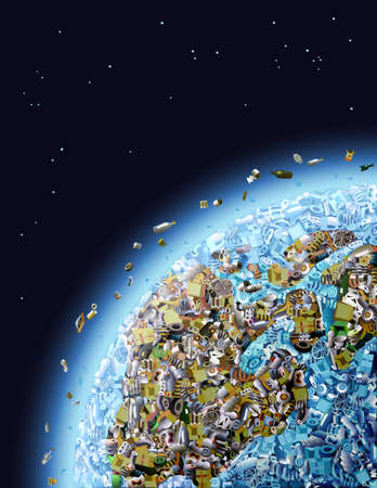 space rubbish: Global Pollution Illustration