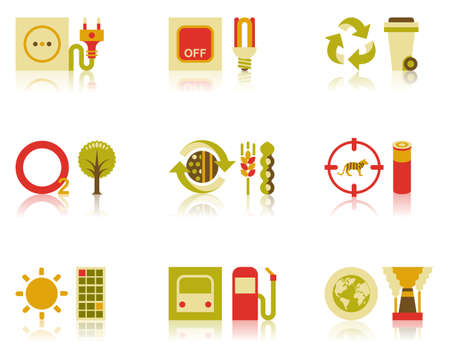 Icons of efficient energy use, recycling of wastes, tree planting, organic farming, and wildlife conservation