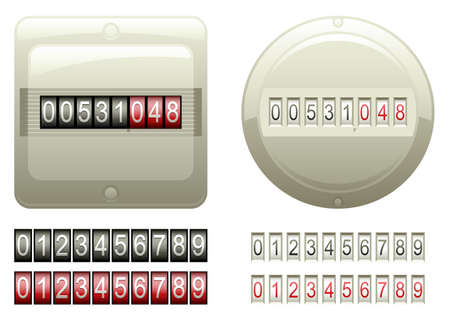 Mechanical Counters And Digits   Vector