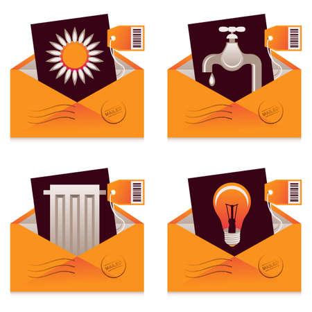 consommation: Collection de factures par la poste pour l'eau, l'�lectricit�, le chauffage et la consommation de gaz Illustration