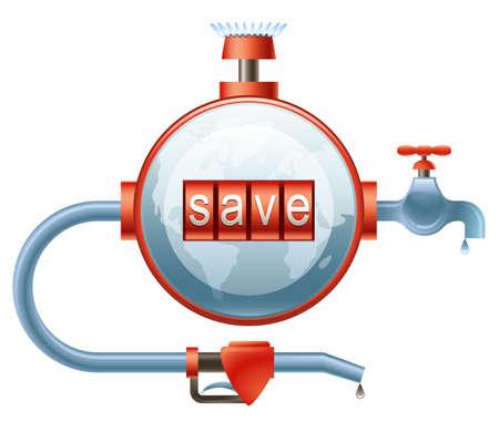 ahorrar agua: Concepto de uso eficiente de la energía (gas, agua y gasolina)